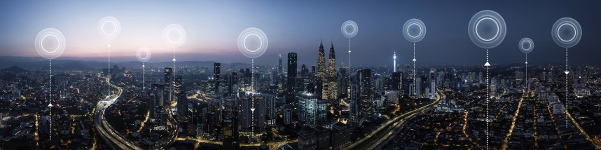 City Skyline with network